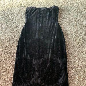 Black floral texture design tube dress